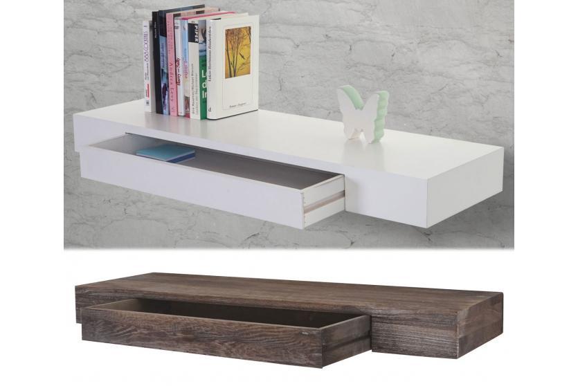 wandregal oise h ngeregal regal 80cm schublade shabby look wei ebay. Black Bedroom Furniture Sets. Home Design Ideas