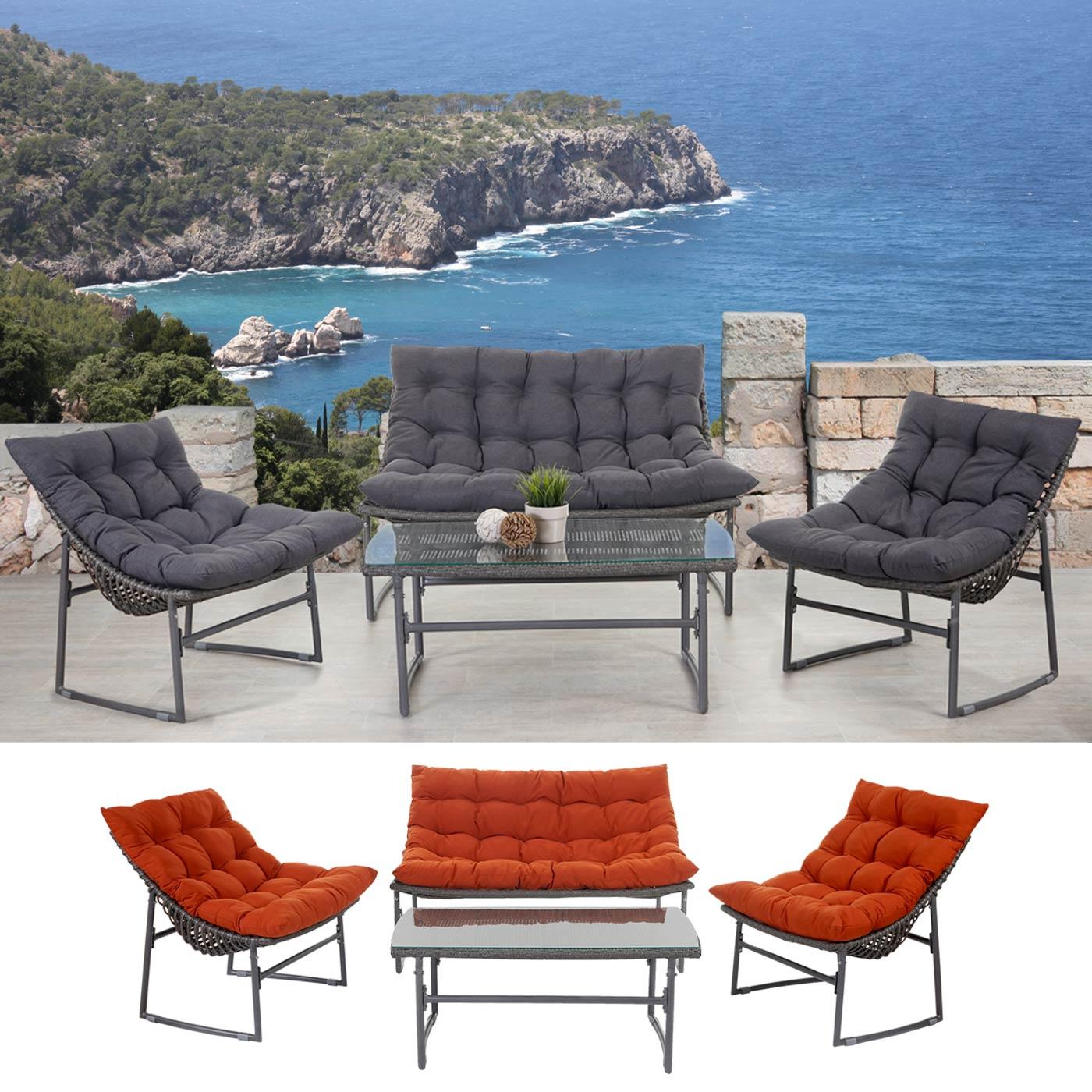 2 1 1 poly rattan garten garnitur tunis sitzgruppe lounge set aluminium ebay. Black Bedroom Furniture Sets. Home Design Ideas