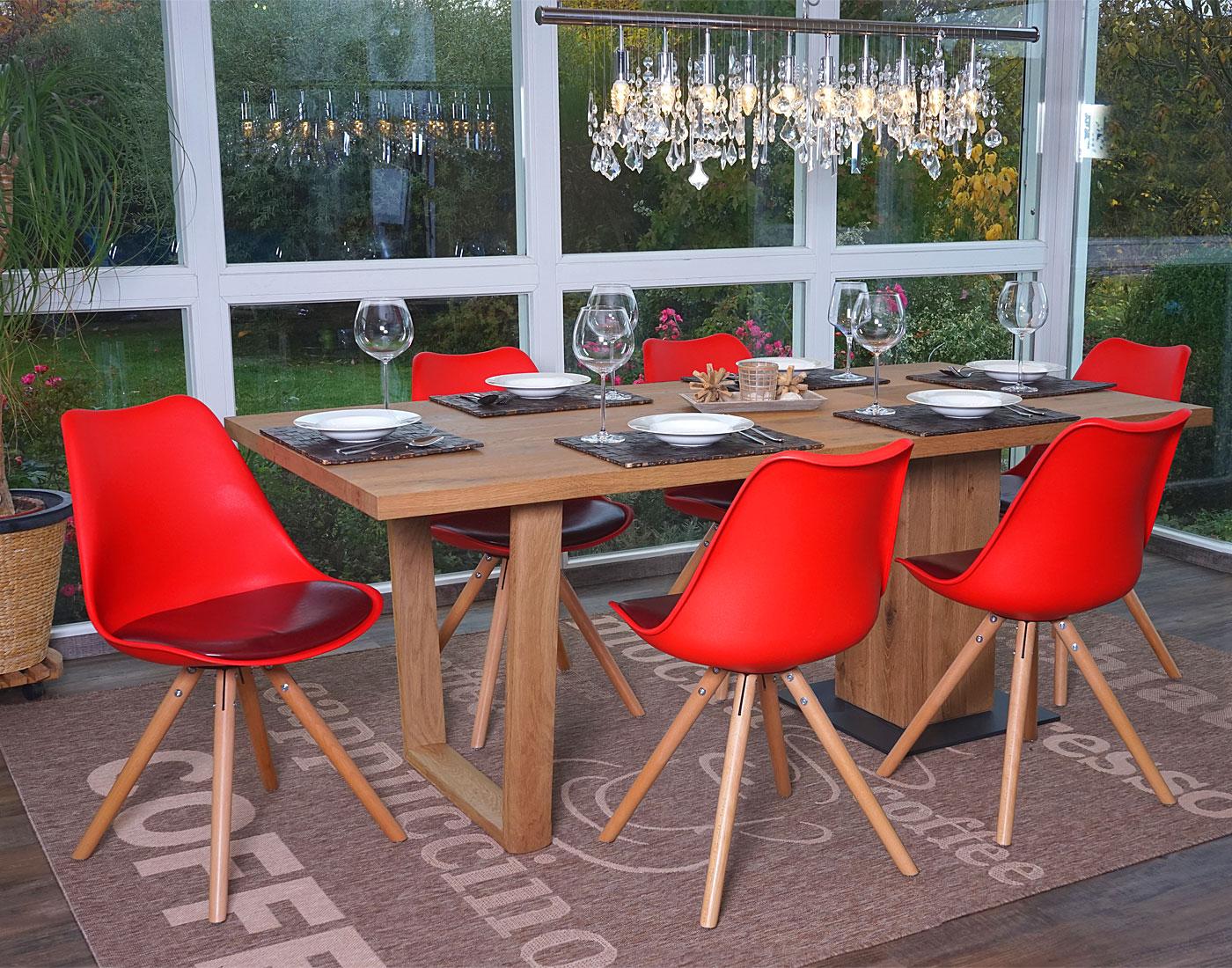 6x esszimmerstuhl malm stuhl rot sitzfl che kunstleder for Esszimmerstuhl rot