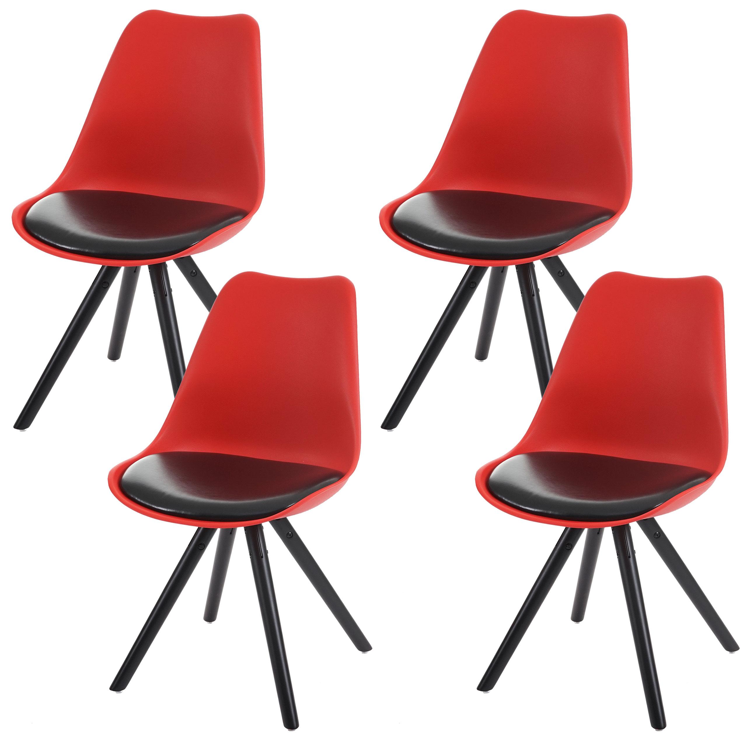 4x esszimmerstuhl vaasa t501 sitzfl che kunstleder schwarz dunkle beine rot. Black Bedroom Furniture Sets. Home Design Ideas