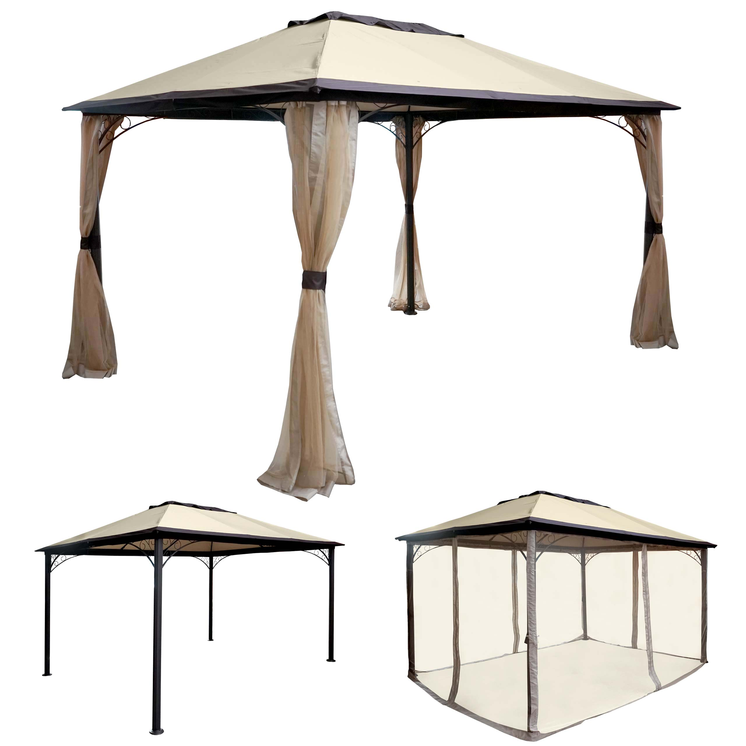 pergola merida garten pavillon stabiles 7cm alu gestell mit moskitonetz 4x3m ebay. Black Bedroom Furniture Sets. Home Design Ideas