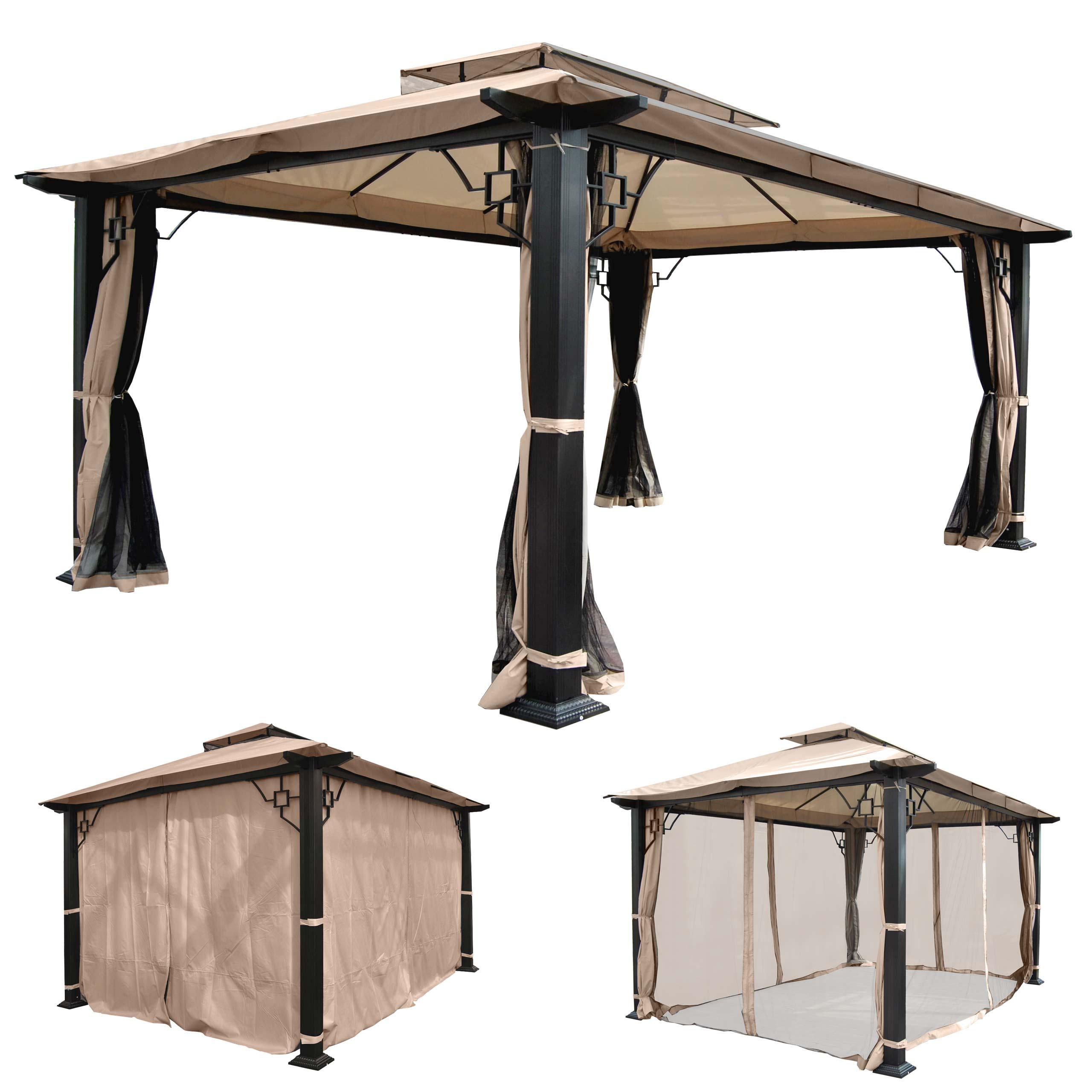 pergola nisa garten pavillon stabiles 12cm luxus alu gestell 4 5x3 5m. Black Bedroom Furniture Sets. Home Design Ideas