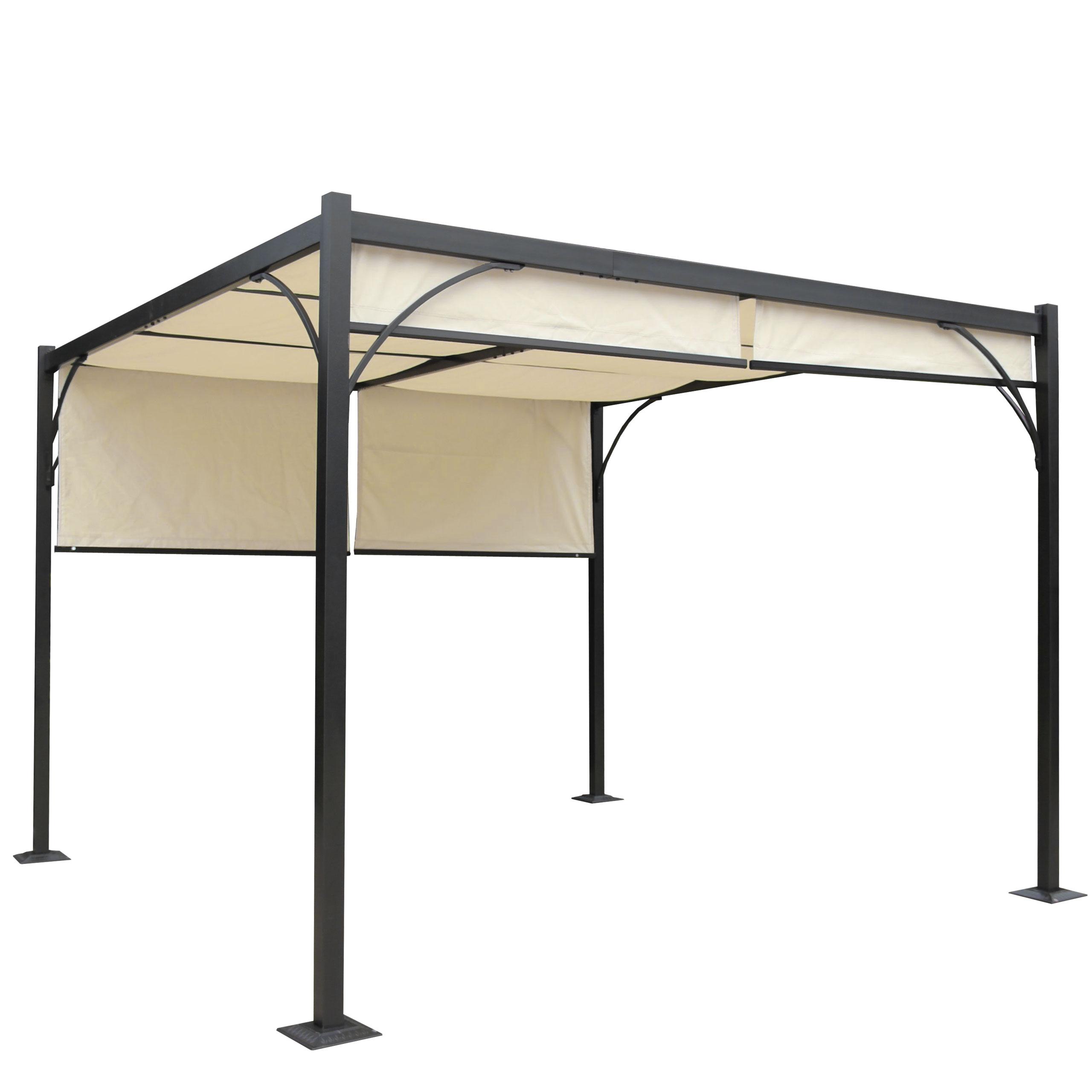 pergola baena garten pavillon stabiles 6cm alu gestell schiebedach 3x3m ebay. Black Bedroom Furniture Sets. Home Design Ideas