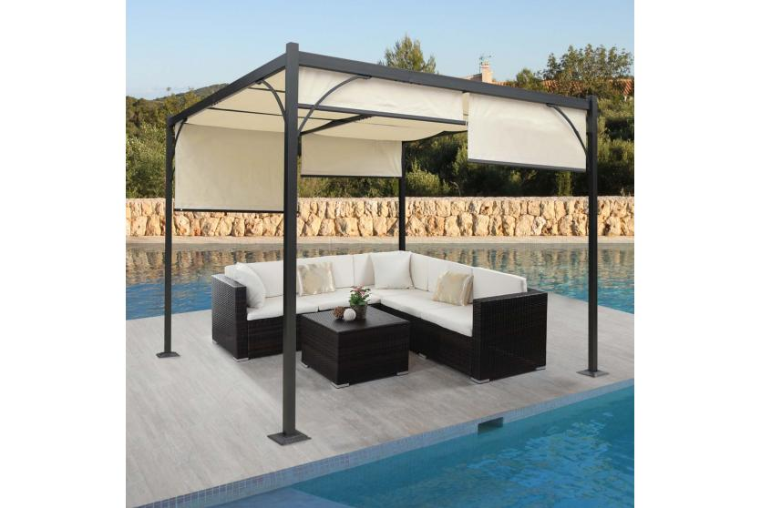pergola baena garten pavillon stabiles 6cm alu gestell schiebedach 3x3m ebay. Black Bedroom Furniture Sets. Home Design Ideas