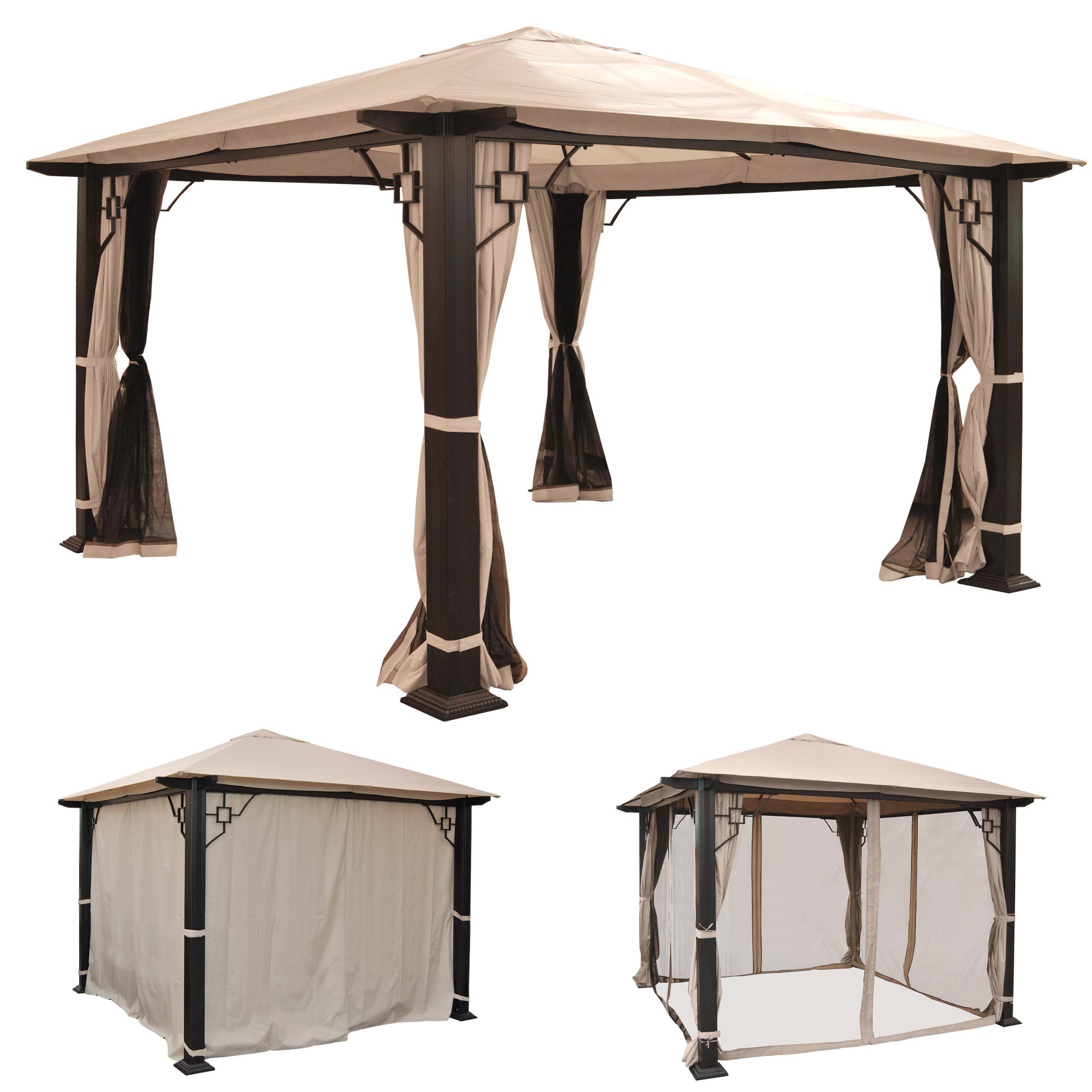 pergola mira garten pavillon 12cm luxus alu gestell 3. Black Bedroom Furniture Sets. Home Design Ideas
