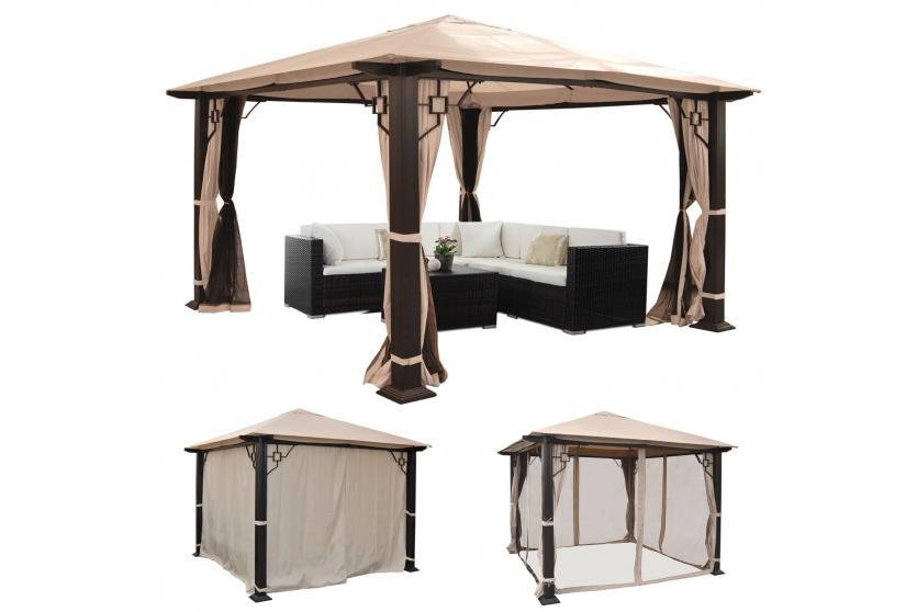 pergola mira garten pavillon 12cm luxus alu gestell 3 5x3 5m oder 4 5x3 5m ebay. Black Bedroom Furniture Sets. Home Design Ideas