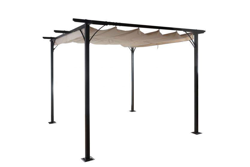 pergola adra garten pavillon stabiles 6cm gestell schiebedach 3x3m ebay. Black Bedroom Furniture Sets. Home Design Ideas