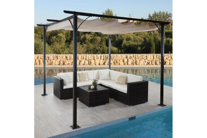 pergola adra garten pavillon 6cm gestell schiebedach 3x3m creme ebay. Black Bedroom Furniture Sets. Home Design Ideas