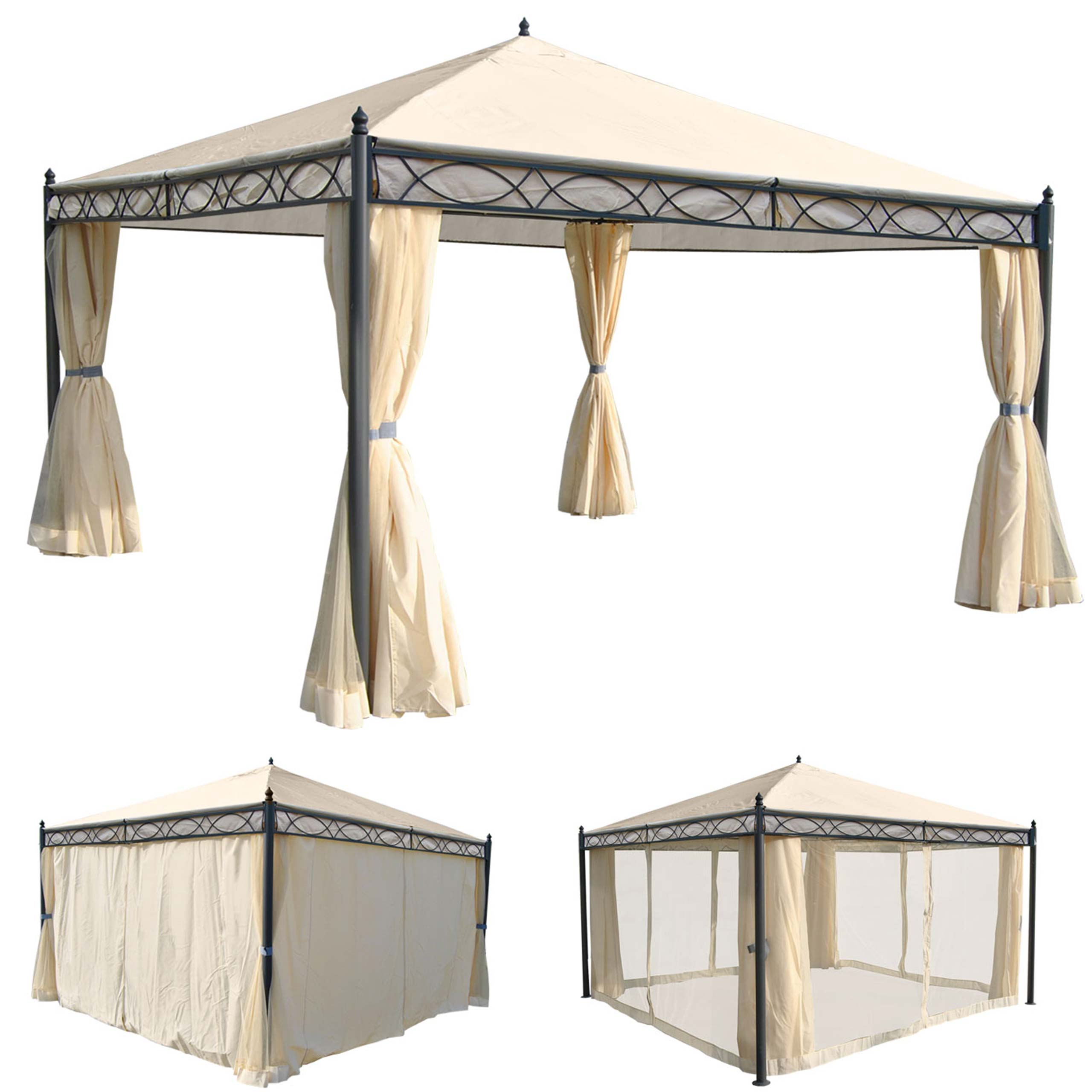 pergola calpe garten pavillon 7cm gestell mit seitenwand moskitonetz 4x4m ebay. Black Bedroom Furniture Sets. Home Design Ideas