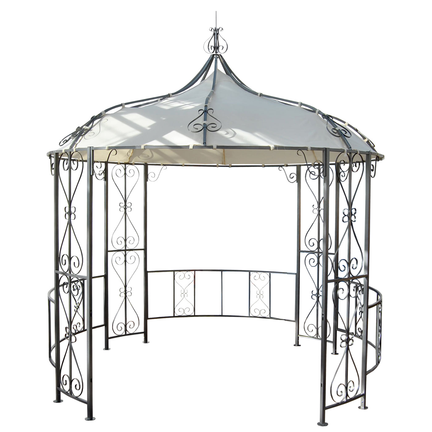 pergola almeria rundpavillon garten pavillon stabiles stahl gestell 3m ebay. Black Bedroom Furniture Sets. Home Design Ideas