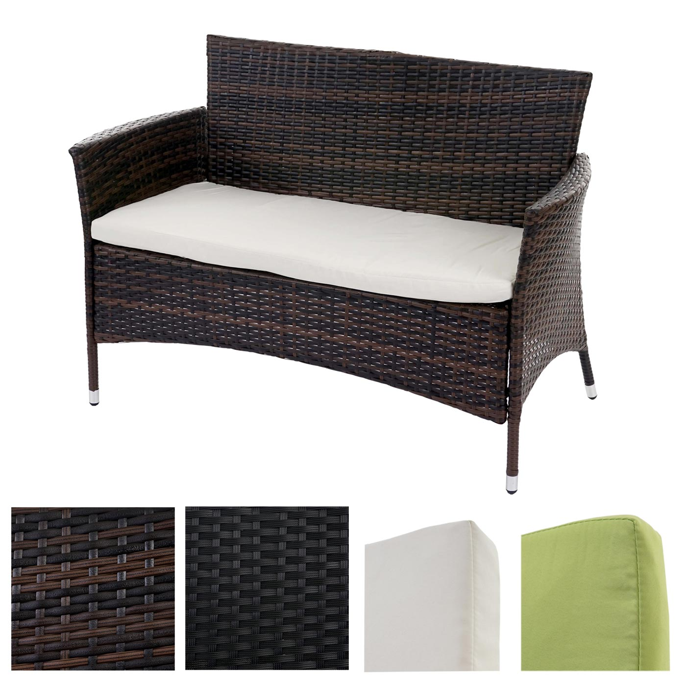 poly rattan sitzbank rom basic gartenbank bank inkl sitzkissen ebay. Black Bedroom Furniture Sets. Home Design Ideas