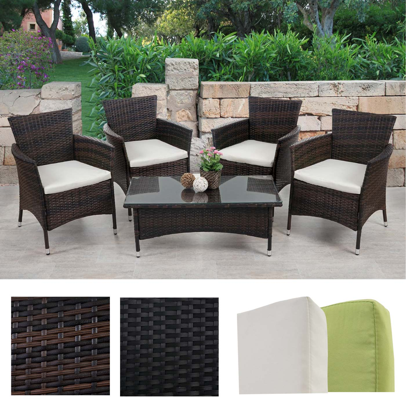 poly rattan garten garnitur rom basic sitzgruppe lounge set tisch 4x sessel. Black Bedroom Furniture Sets. Home Design Ideas
