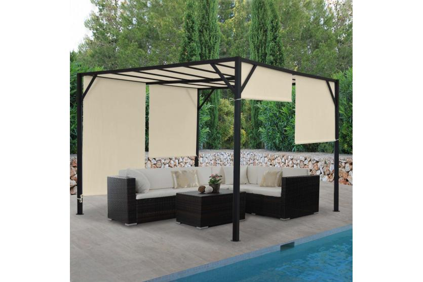 pergola baia garten pavillon 6cm stahl gestell schiebedach 3x3m 4x3m 4x4m ebay. Black Bedroom Furniture Sets. Home Design Ideas