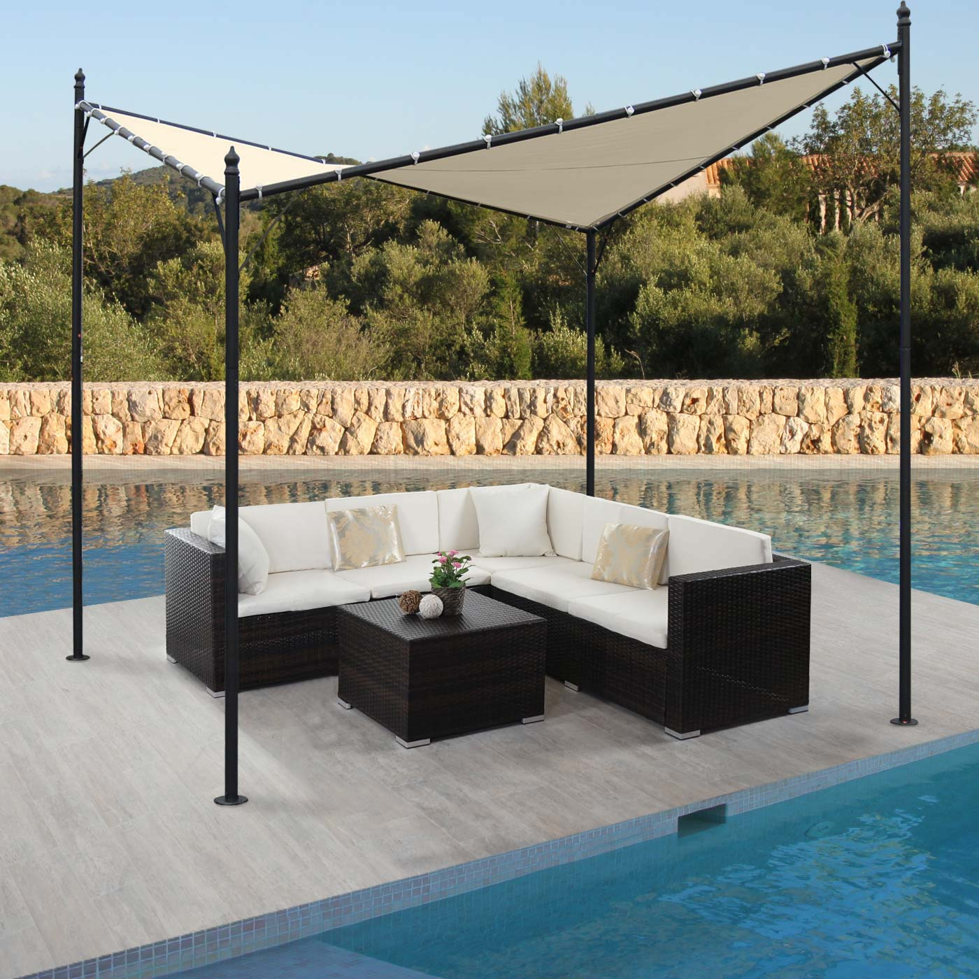 pergola girona garten pavillon sonnensegel stabiles 5cm. Black Bedroom Furniture Sets. Home Design Ideas
