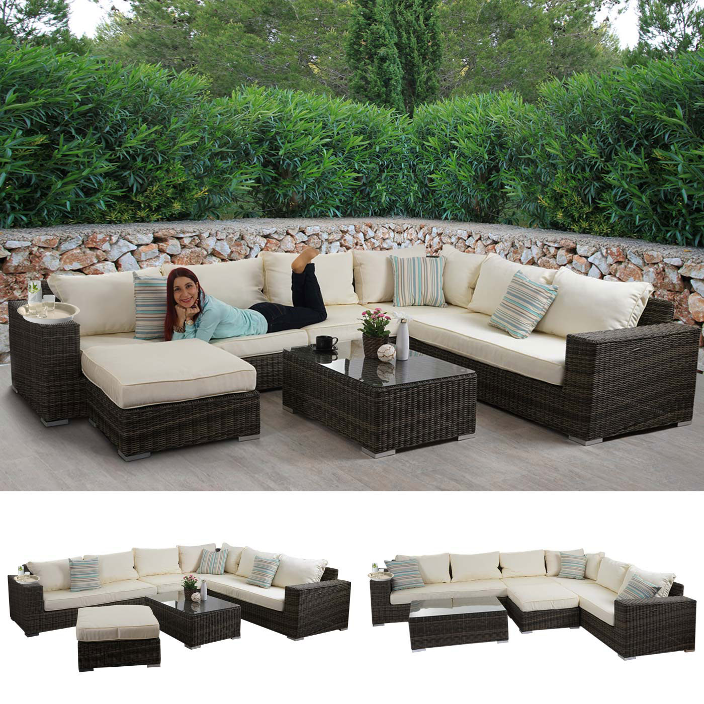 luxus poly rattan sofa garnitur lounge set gartengarnitur melilla alu gestell ebay. Black Bedroom Furniture Sets. Home Design Ideas