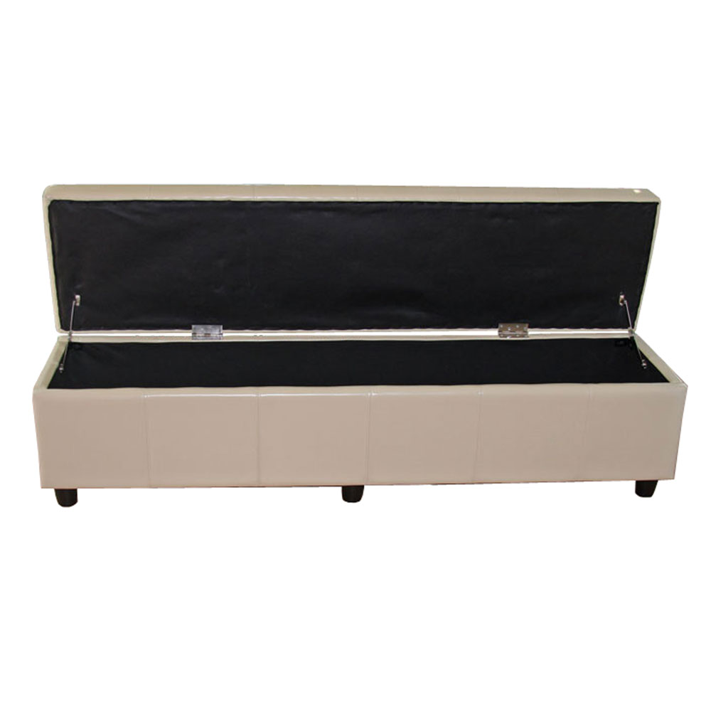 aufbewahrungs truhe sitzbank kriens xxl kunstleder 180x45x45cm creme. Black Bedroom Furniture Sets. Home Design Ideas