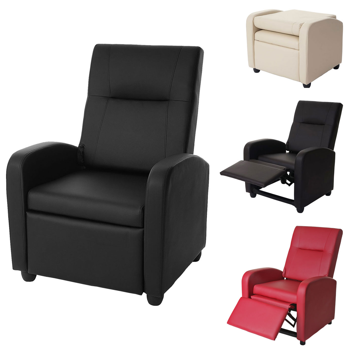 fernsehsessel denver basic relaxsessel relaxliege sessel kunstleder ebay. Black Bedroom Furniture Sets. Home Design Ideas