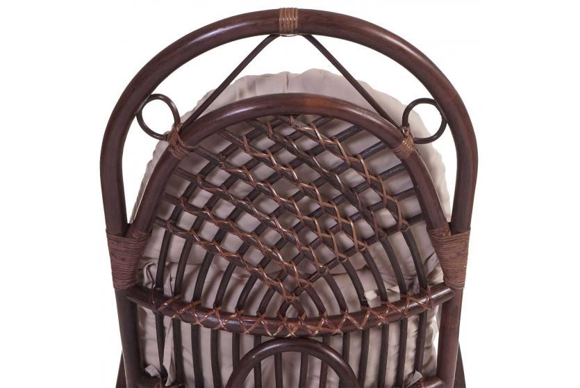 schaukelstuhl leeds schwingsessel rattansessel braun mit wei er auflage ebay. Black Bedroom Furniture Sets. Home Design Ideas