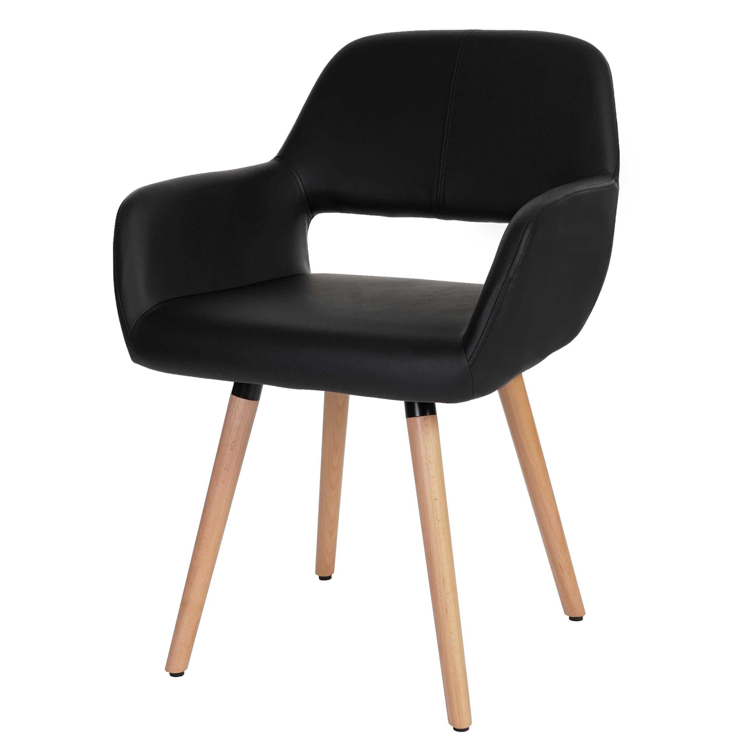 esszimmerstuhl dohna ii stuhl lehnstuhl retro design kunstleder schwarz. Black Bedroom Furniture Sets. Home Design Ideas