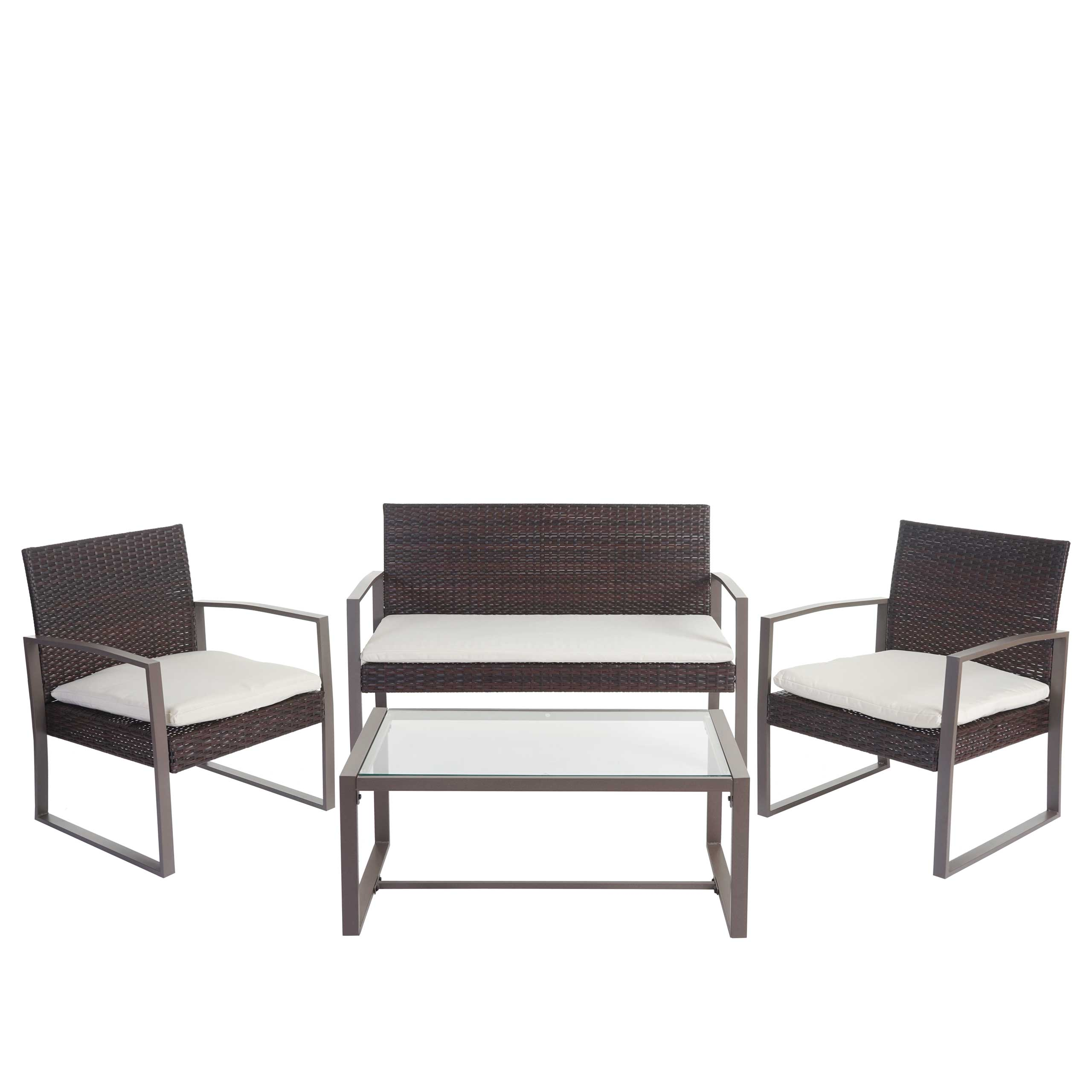 2 1 1 poly rattan garten garnitur parga mit 3 kissen braun sitzgruppe ebay. Black Bedroom Furniture Sets. Home Design Ideas