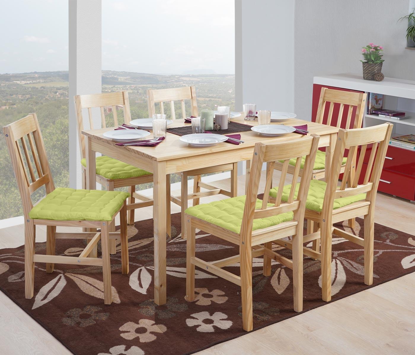 esszimmergarnitur sortland tisch st hle kiefer natur 6 kissen gr n ebay. Black Bedroom Furniture Sets. Home Design Ideas