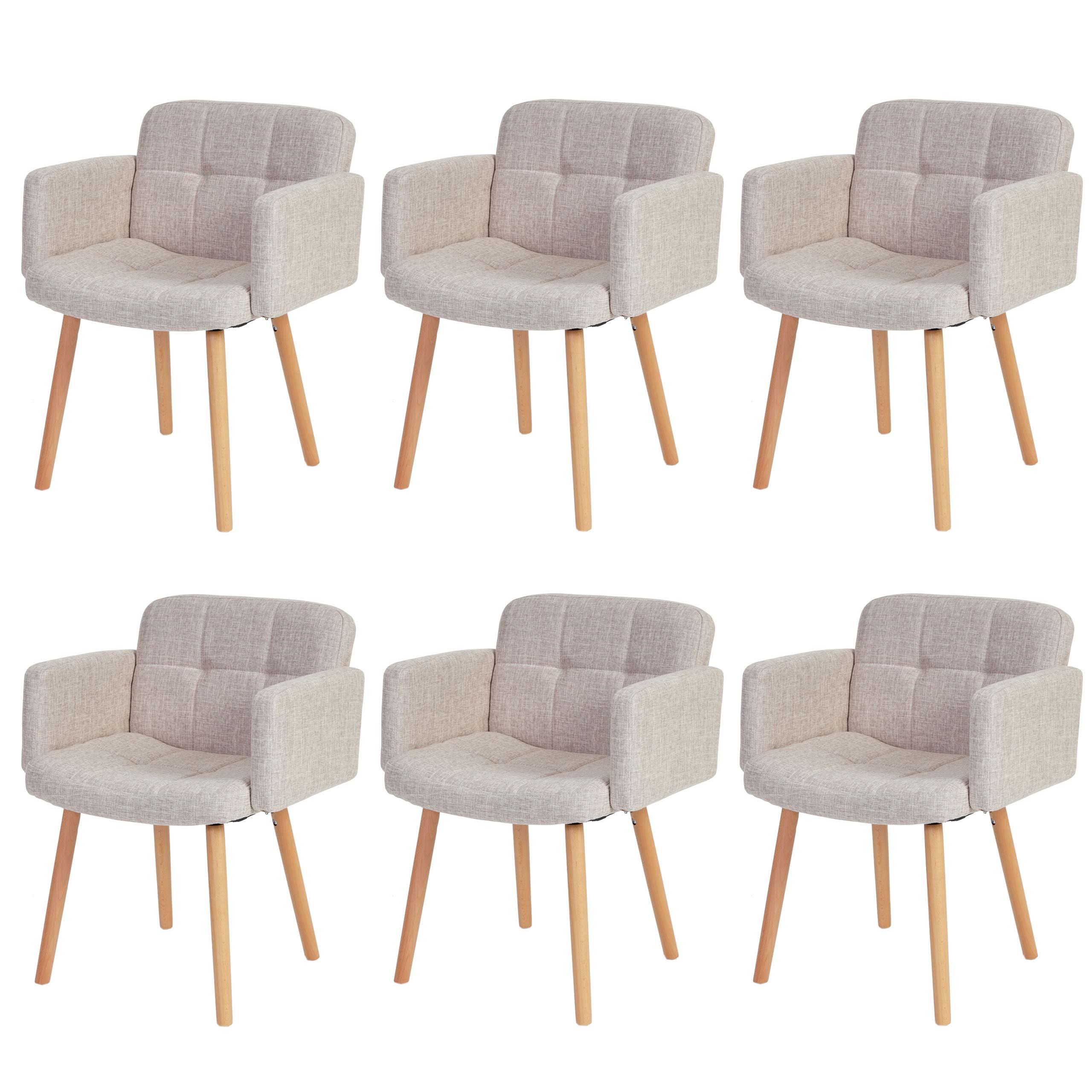 6x esszimmerstuhl houston ii lehnstuhl retro design textil creme grau ebay. Black Bedroom Furniture Sets. Home Design Ideas