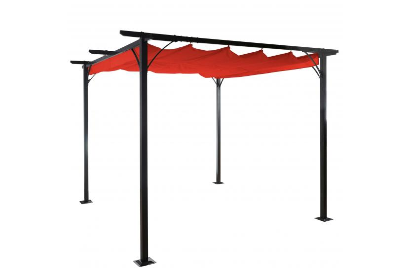 pergola adra garten pavillon 6cm gestell schiebedach 3x3m terrakotta ebay. Black Bedroom Furniture Sets. Home Design Ideas