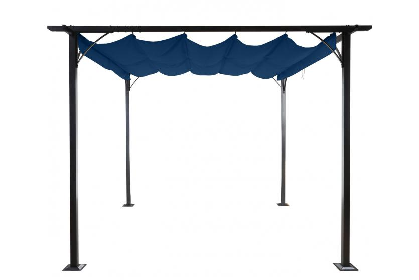 pergola adra garten pavillon 6cm gestell schiebedach 3x3m blau ebay. Black Bedroom Furniture Sets. Home Design Ideas