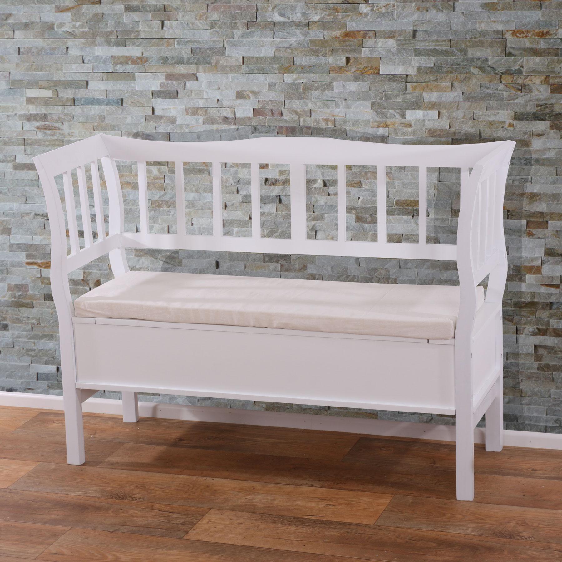 sitzbank h207 bank truhenbank staufach kissen wei ge lt ebay. Black Bedroom Furniture Sets. Home Design Ideas