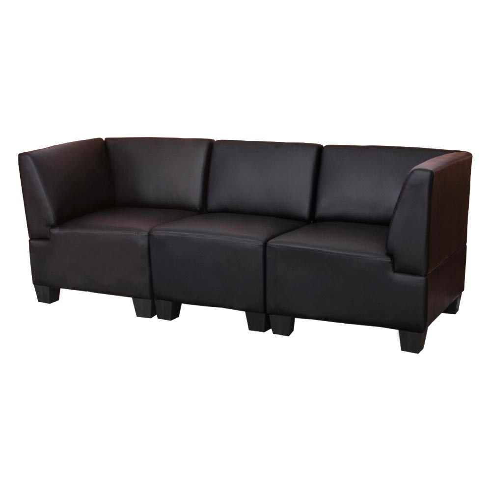 Modular 3 Sitzer Sofa Couch Lyon Kunstleder Schwarz Hohe Armlehnen Ebay