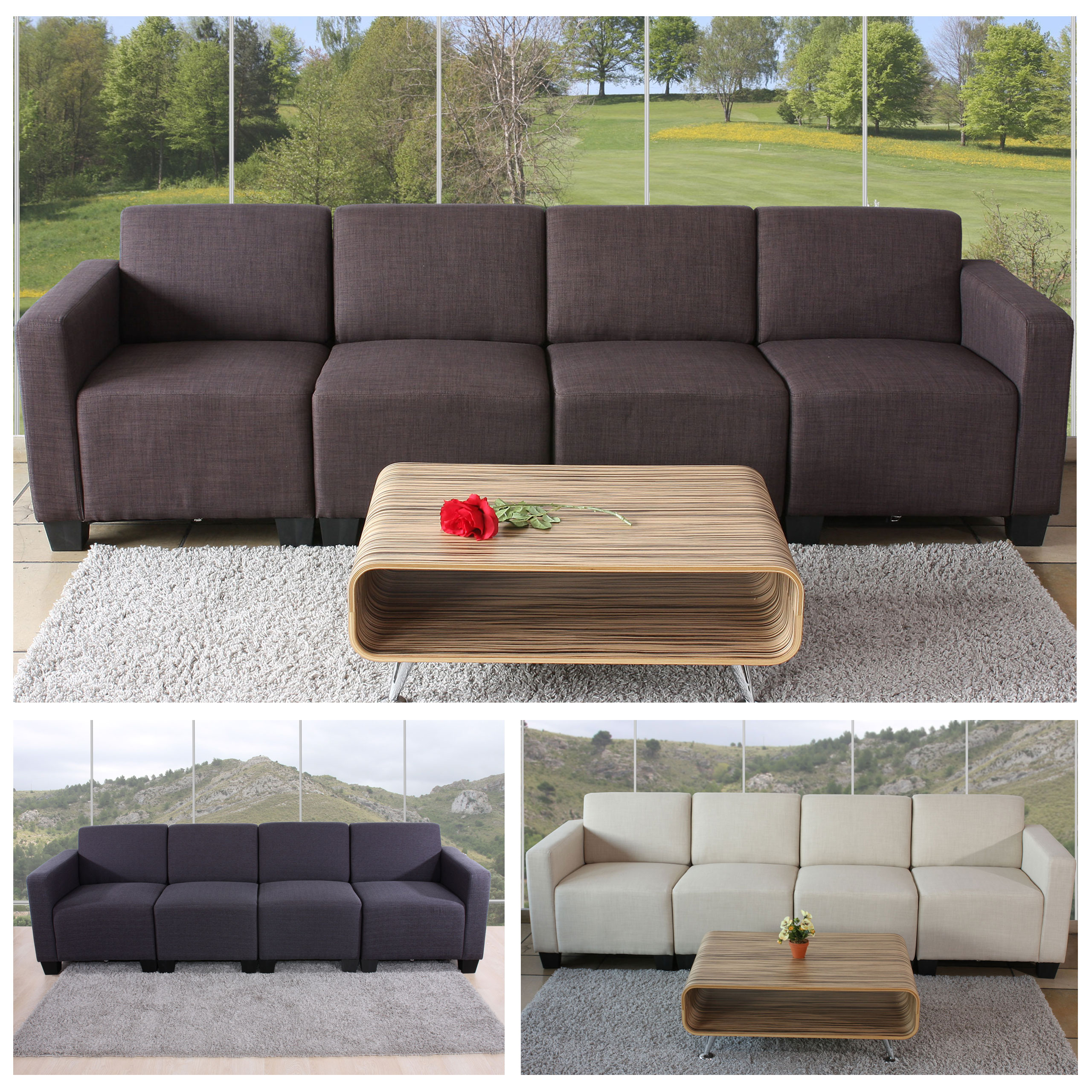 modular 4 sitzer couch sofa lyon textil braun creme. Black Bedroom Furniture Sets. Home Design Ideas