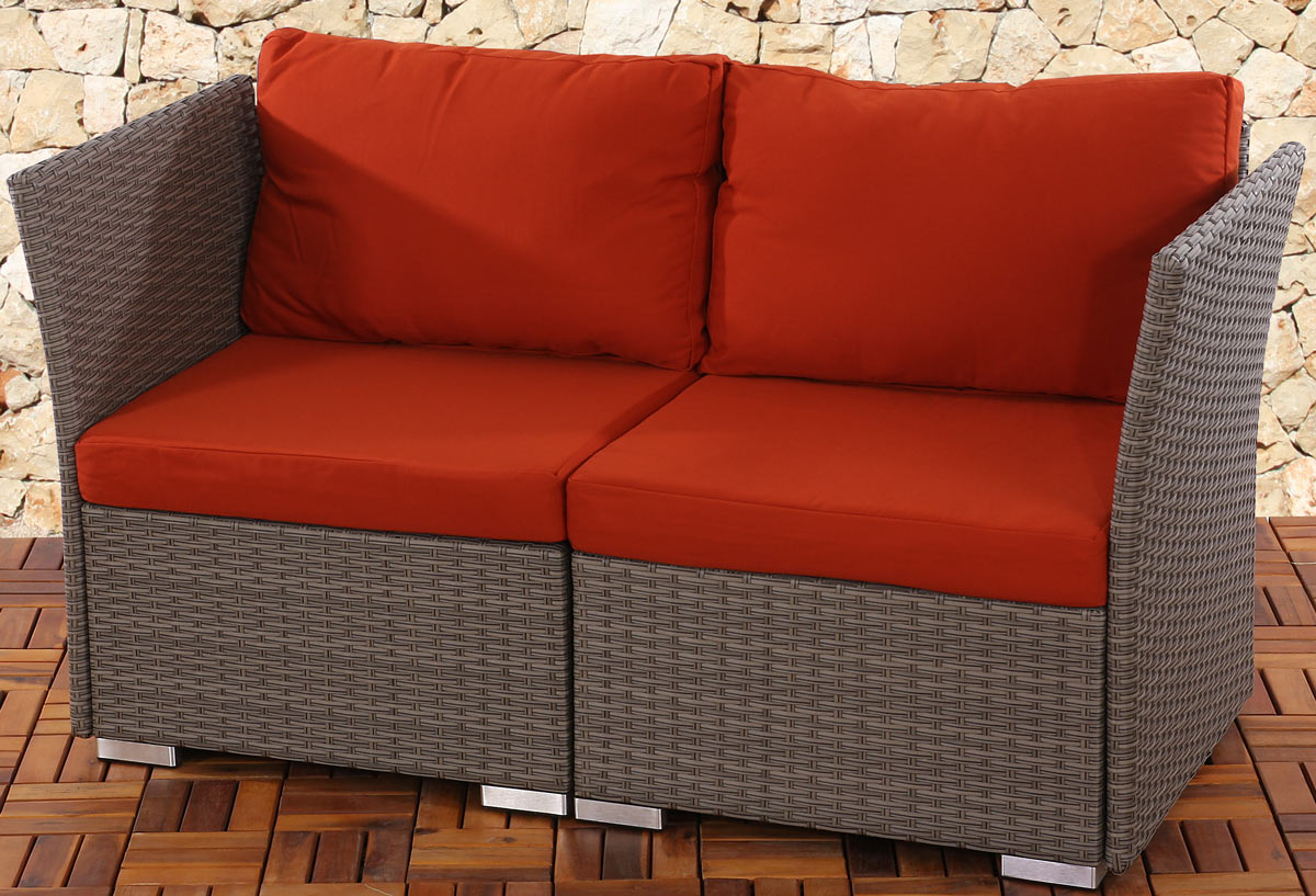 2er sofa 2 sitzer siena poly rattan naturgrau, grau, anthrazit ...