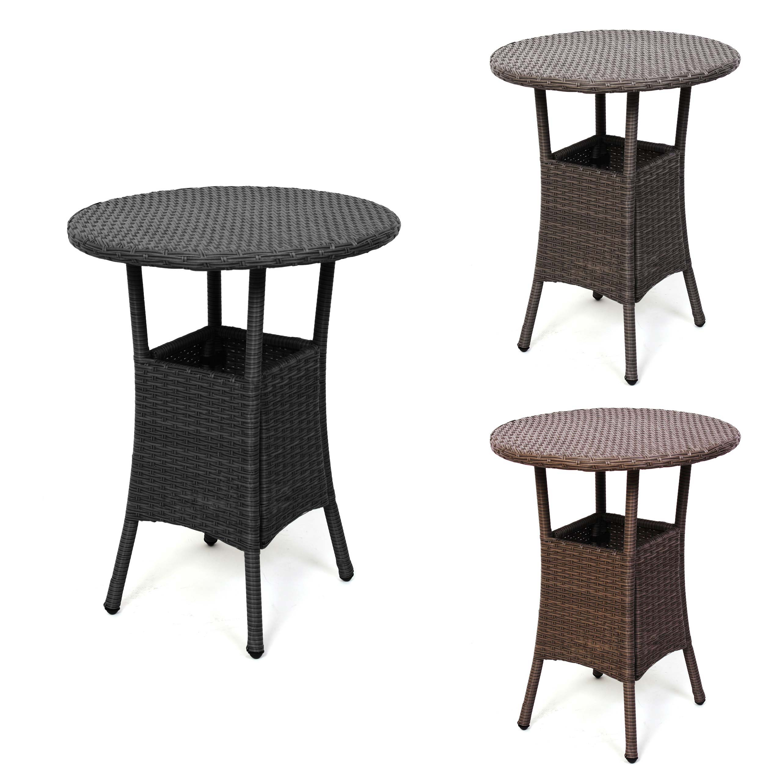 gartentisch beistelltisch romv poly rattan rund 75x60cm schwarz braun grau ebay. Black Bedroom Furniture Sets. Home Design Ideas