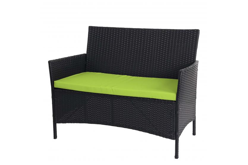 poly rattan gartenbank hamar sitzbank bank anthrazit kissen gr n. Black Bedroom Furniture Sets. Home Design Ideas