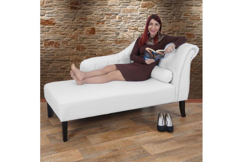 recamiere chesterfield edinburgh relaxliege chaiselongue kunstleder wei ebay. Black Bedroom Furniture Sets. Home Design Ideas