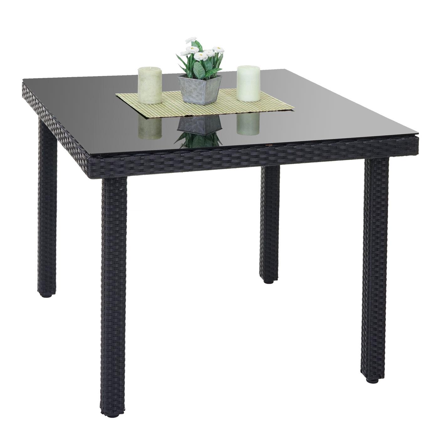 poly rattan gartentisch cava esstisch mit glasplatte 90x90x74cm anthrazit ebay. Black Bedroom Furniture Sets. Home Design Ideas