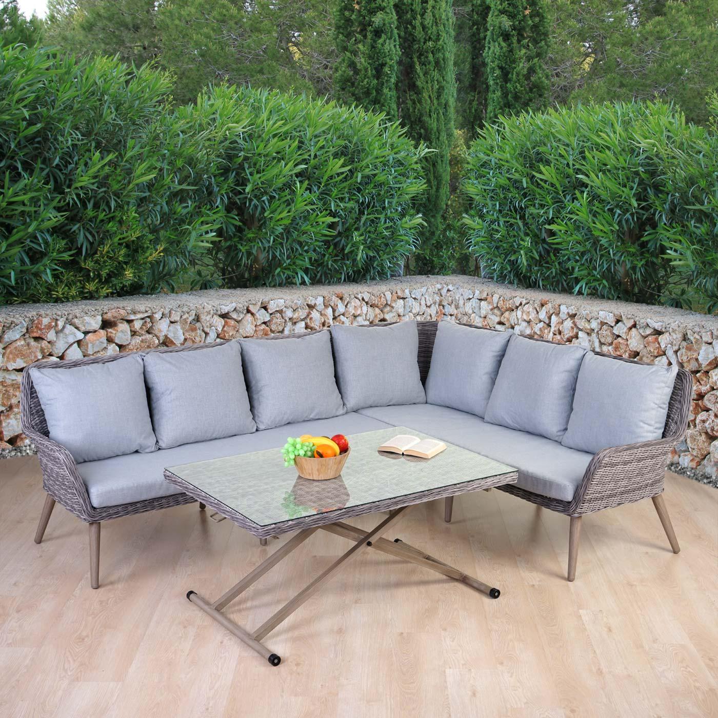 luxus poly rattan garnitur bilbao premium lounge esstisch. Black Bedroom Furniture Sets. Home Design Ideas