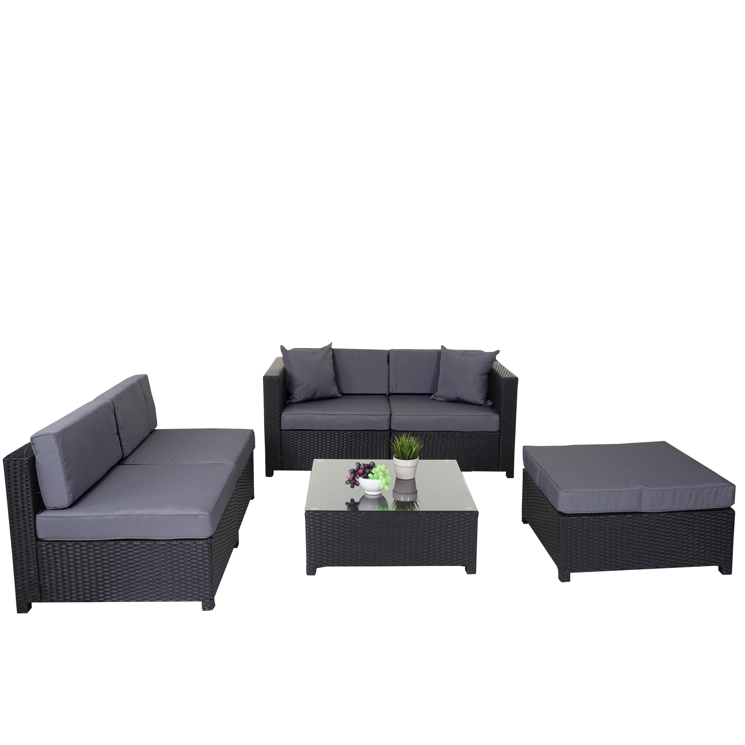 poly rattan garnitur gela sitzgruppe lounge set alu anthrazit kissen grau ebay. Black Bedroom Furniture Sets. Home Design Ideas