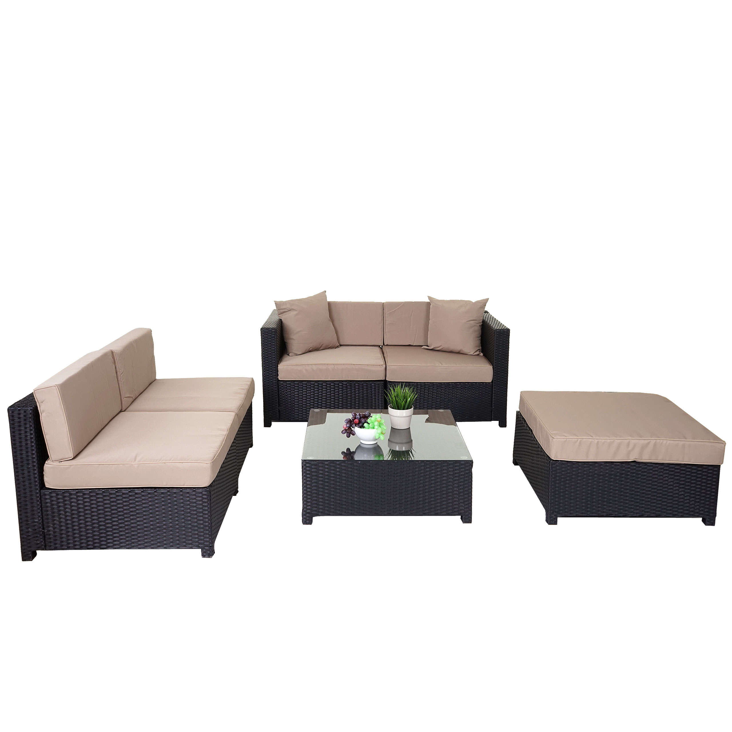 poly rattan garnitur gela sitzgruppe lounge set alu anthrazit kissen beige. Black Bedroom Furniture Sets. Home Design Ideas
