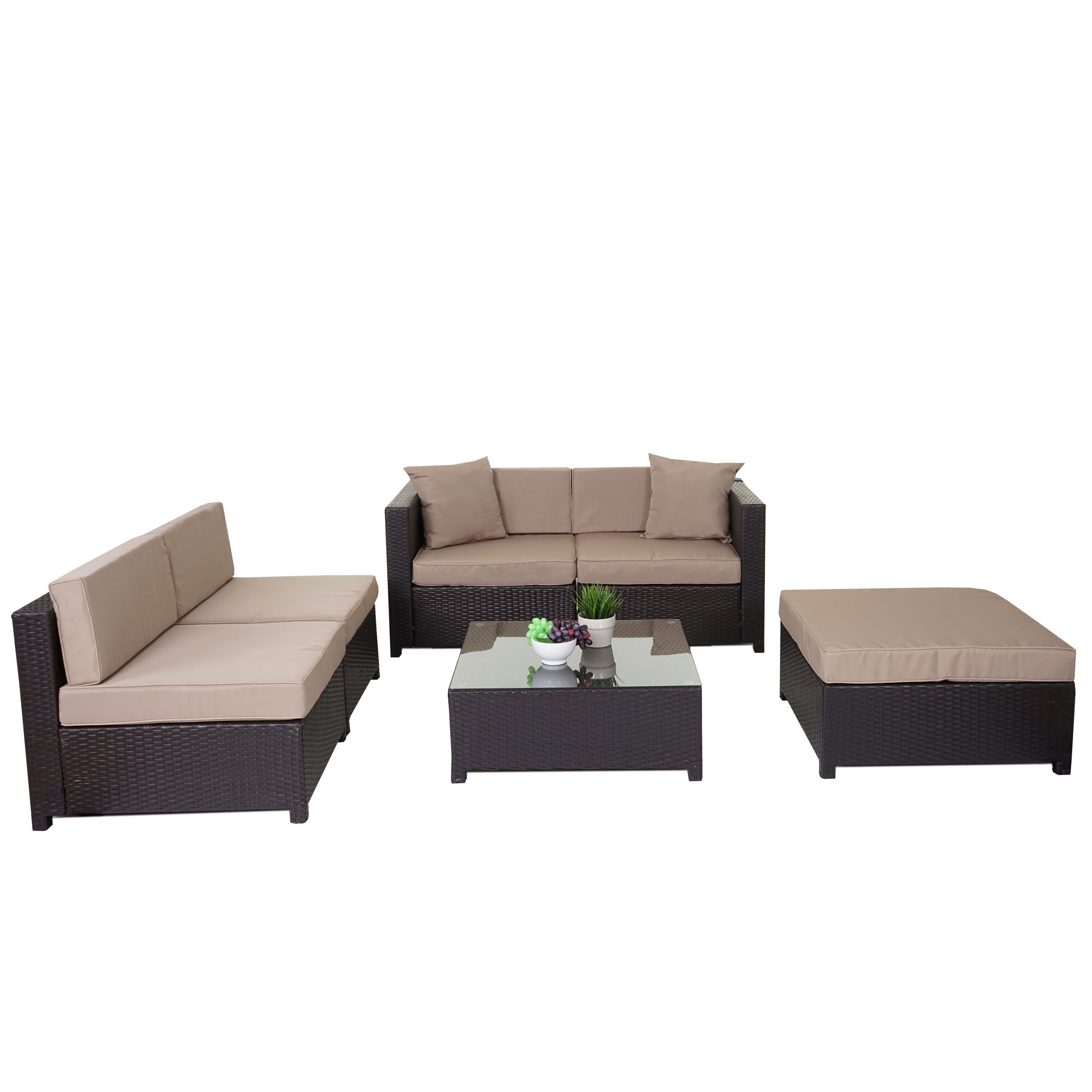 poly rattan garnitur gela sitzgruppe lounge set alu braun kissen beige ebay. Black Bedroom Furniture Sets. Home Design Ideas