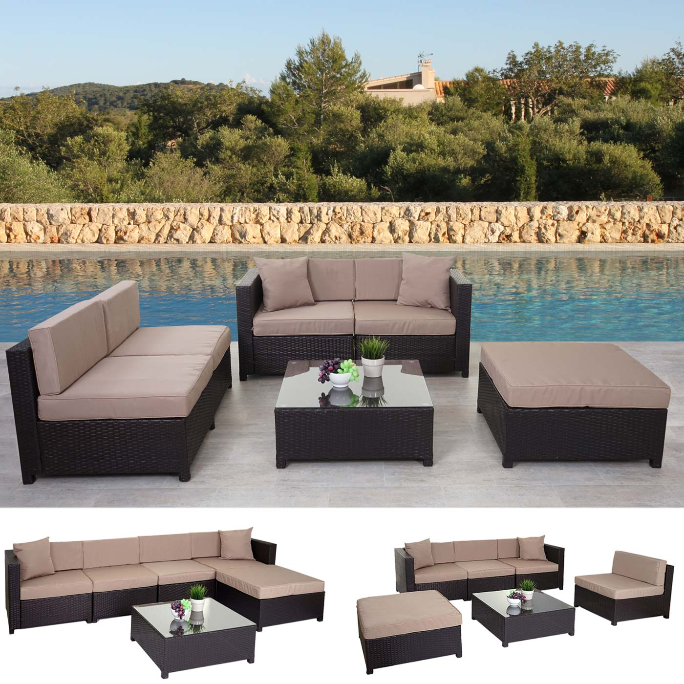 poly rattan garnitur tapa gartengarnitur lounge alu braun kissen beige ebay. Black Bedroom Furniture Sets. Home Design Ideas