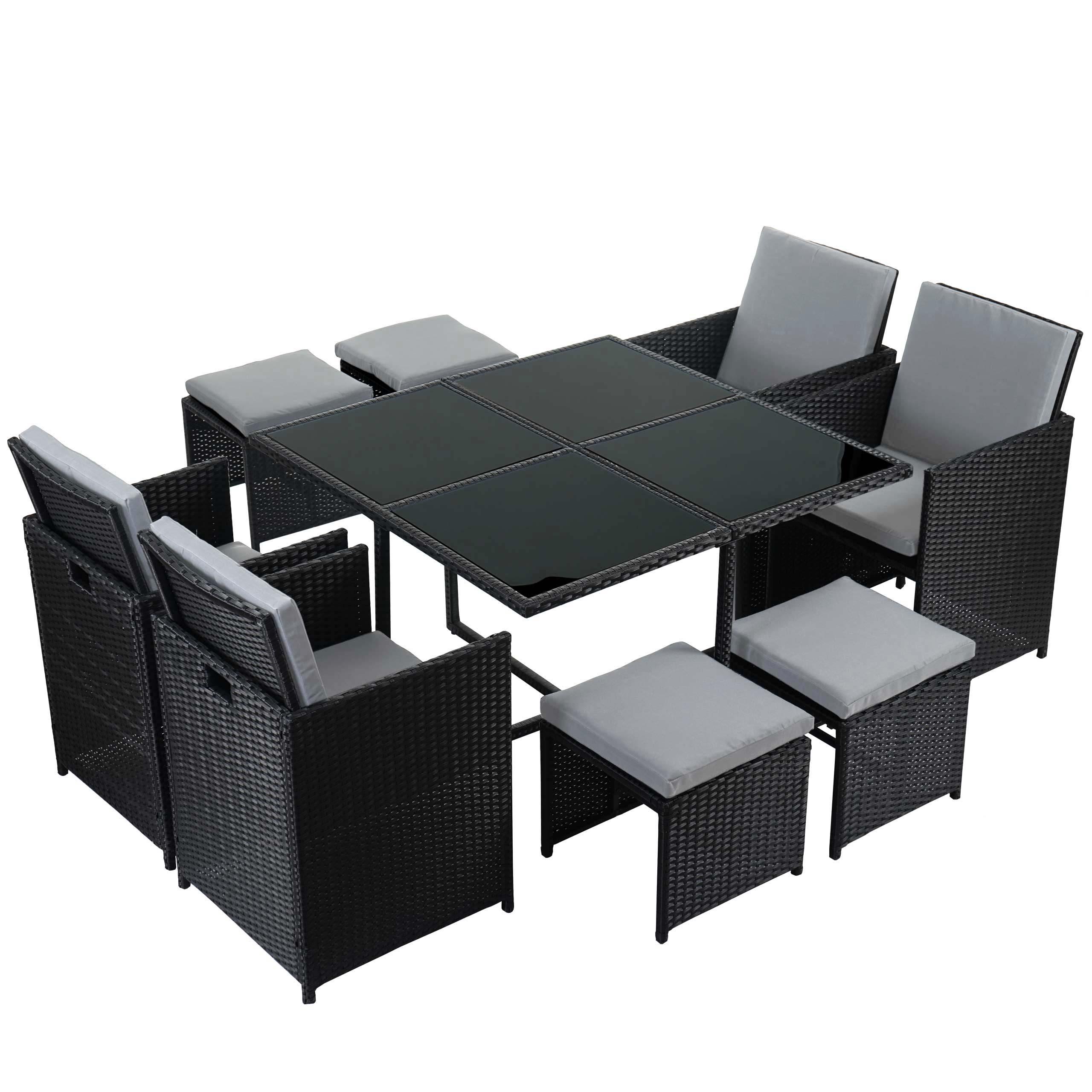 poly rattan garten garnitur kreta lounge set 4 st hle schwarz kissen hellgrau ebay. Black Bedroom Furniture Sets. Home Design Ideas