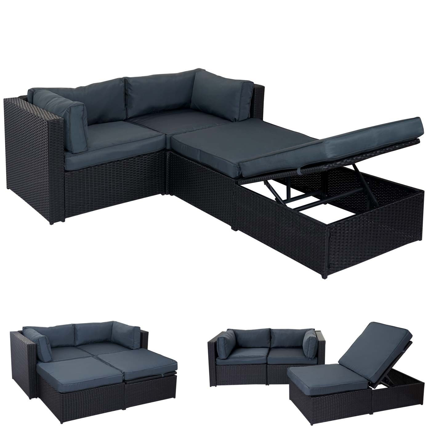 poly rattan garnitur bursa gartengarnitur lounge set alu schwarz kissen grau ebay. Black Bedroom Furniture Sets. Home Design Ideas