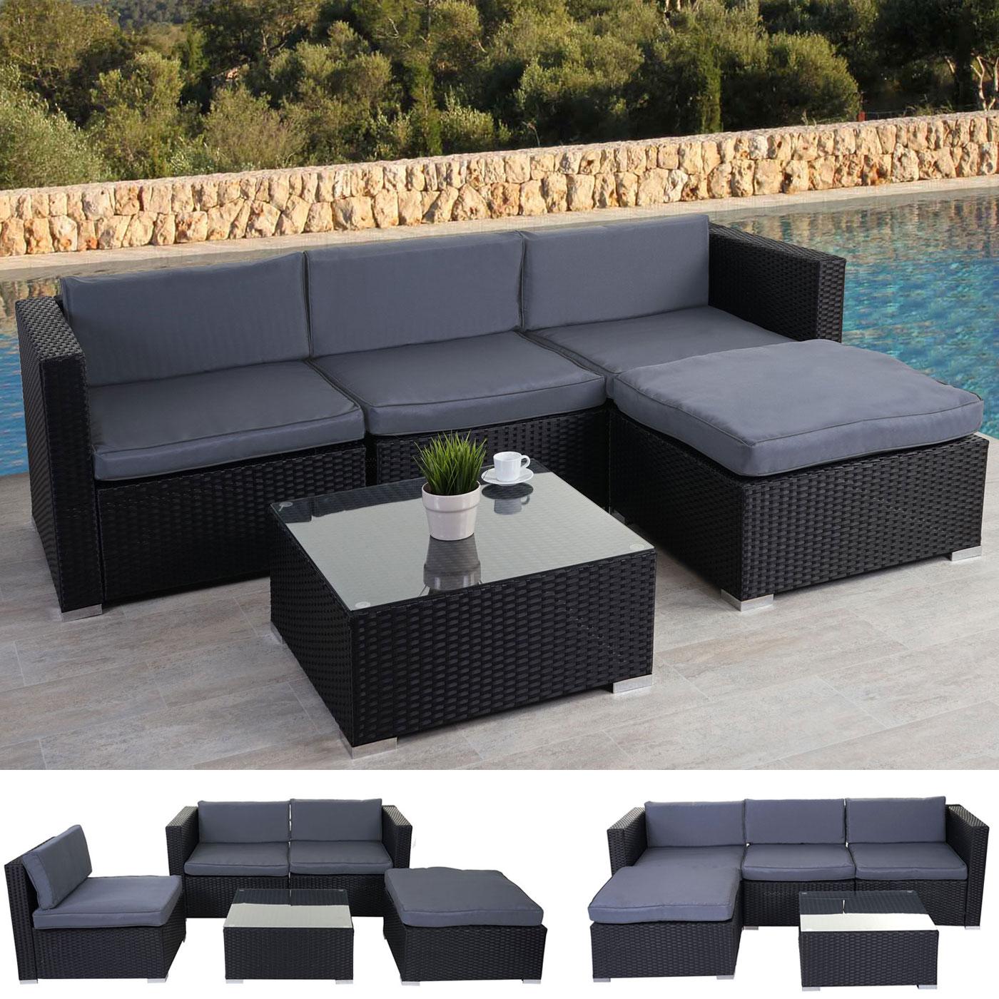 poly rattan garnitur marsala gartengarnitur lounge set schwarz kissen grau ebay. Black Bedroom Furniture Sets. Home Design Ideas