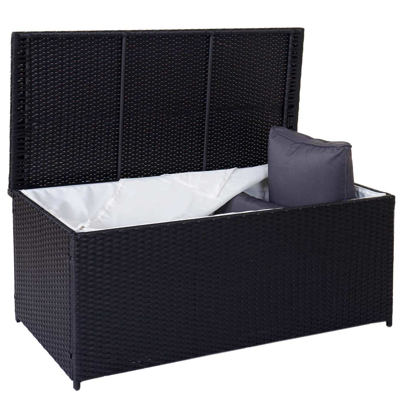 poly rattan kissenbox barry truhe auflagenbox gartenbox 290l schwarz. Black Bedroom Furniture Sets. Home Design Ideas