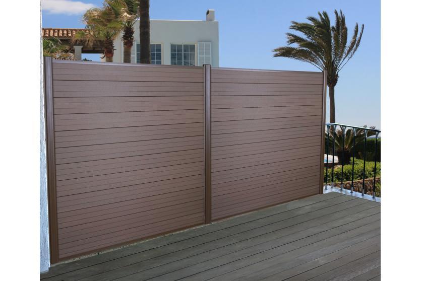 wpc sichtschutz sarthe windschutz zaun alu grau oder braun. Black Bedroom Furniture Sets. Home Design Ideas