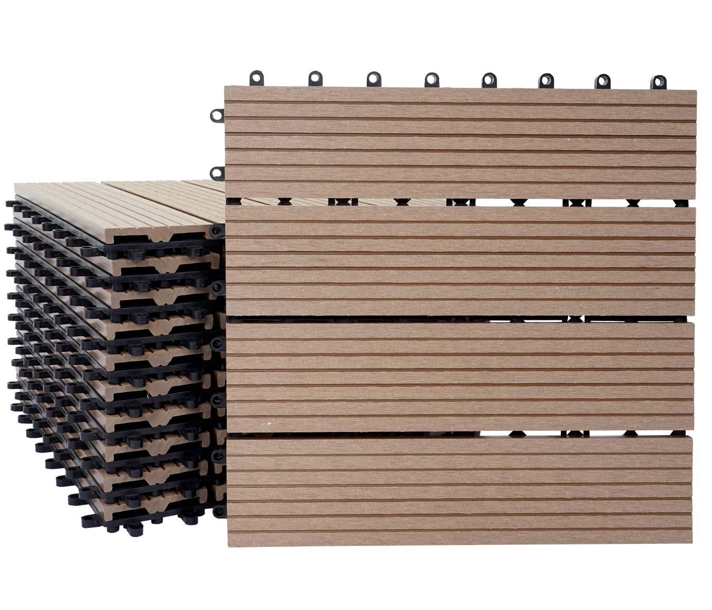 1qm wpc holz fliesen sarthe bodenfliesen balkon terrasse teak linear ebay. Black Bedroom Furniture Sets. Home Design Ideas