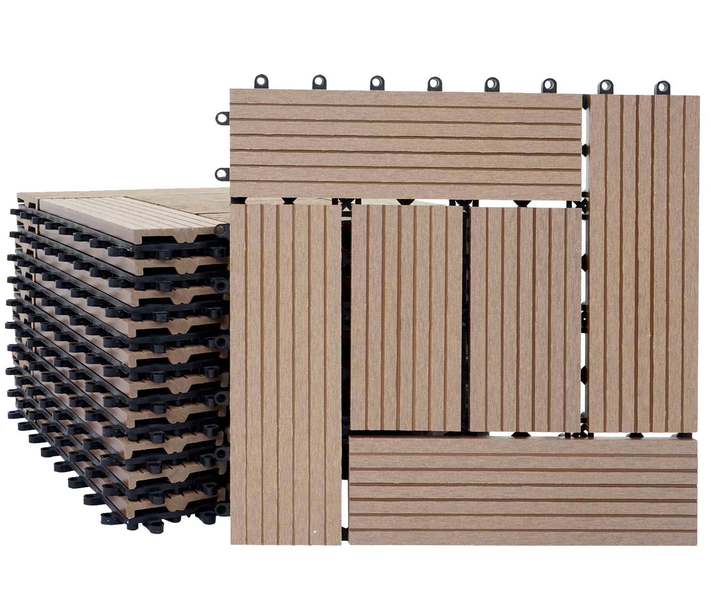 1qm wpc holz fliesen sarthe bodenfliesen balkon terrasse teak versetzt. Black Bedroom Furniture Sets. Home Design Ideas