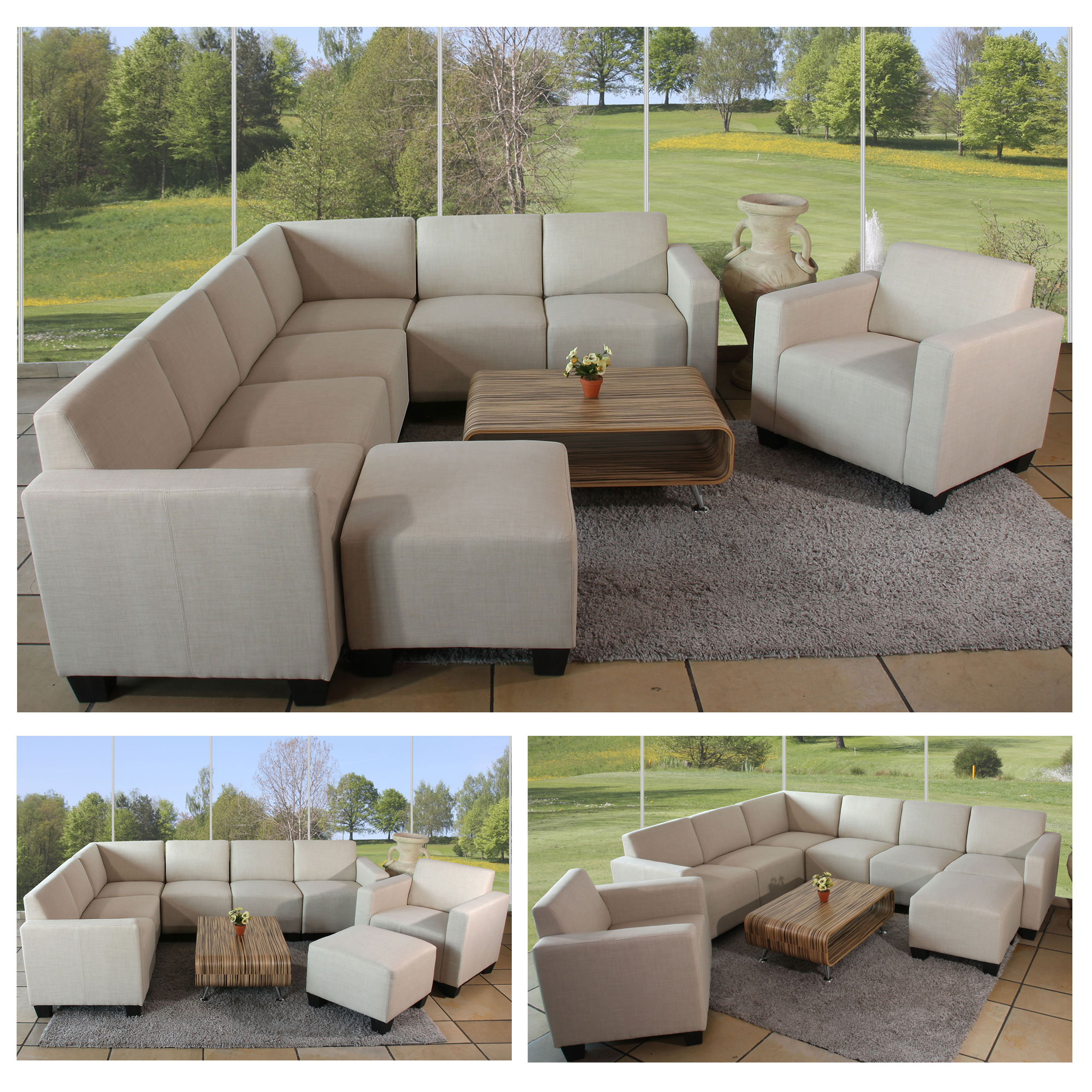 modular sofa system couch garnitur lyon 6 2 textil creme ebay. Black Bedroom Furniture Sets. Home Design Ideas