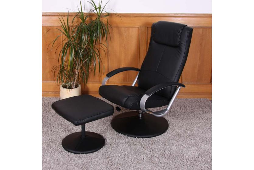 relaxliege relaxsessel fernsehsessel n44 mit hocker schwarz. Black Bedroom Furniture Sets. Home Design Ideas